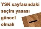 YSK sayfasında güncellenmemiş seçim yasası