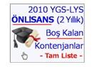2010 YGS-LYS önlisans (2 yıllık) boş kontenjanlar