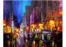 Büyük şehrin parlak ışıkları