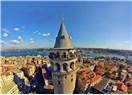 İstanbul'un Ceneviz Mahallesi Galata ve Galata Kulesi