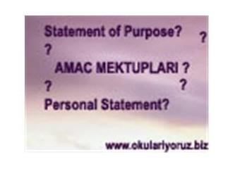 Amaç mektubu ( Statement of Purpose) nedir?