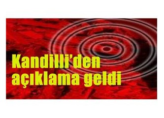 Kandilli Rasathanesi Deprem Bildiriyor!!!