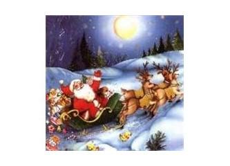Noel Baba, geyikler ve çam ağacı