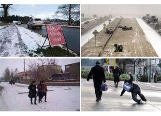 Buzlu yollar ve kaldırımlar temizlenmelidir !