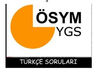YGS 2013 Türkçe soruları (Aynı parçaya dayalı iki soru...)