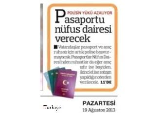 Pasaportları Nüfus Daireleri verecekmiş...
