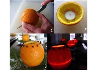 Portakal kabuğu ve Karanfilden Mumluk