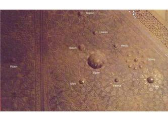 Bursa Ulu Cami'deki minberin iki yüzünde evrenin haritalarının krokisi varmış